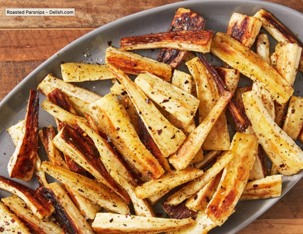 bastoncitos de apio de campo chirivia parsnips al horno para roast beef