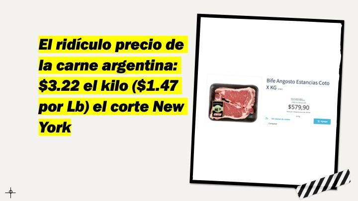 El precio de los cortes de carne argentinos suben 144% anual (7.7% en Junio 2021), pero bajan 1.7% mensual en US$